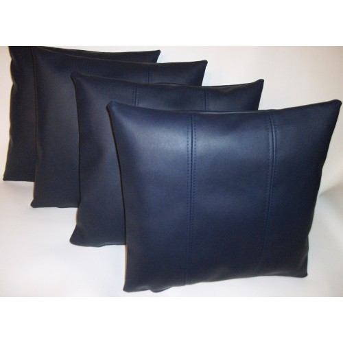 4 X Faux Leather Cushion Covers In Navy Blue Stripe Design
