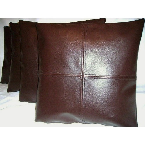 4 X Faux Leather Cushion Covers In Brown Check Design 18 Quot