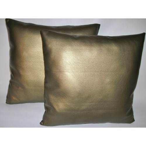 2 Antique Gold Faux Leather Cushion Covers 20 Quot Scatter