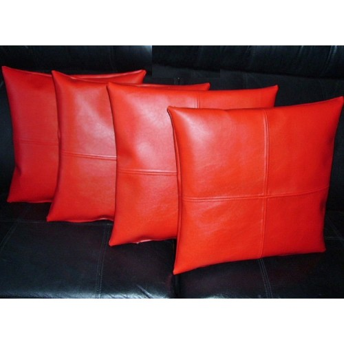 4 X Faux Leather Cushion Covers In Red Check Design 18 Quot