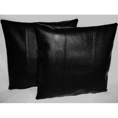 2 Black Stripe Faux Leather Cushion Covers 16 Quot Scatter Pillows