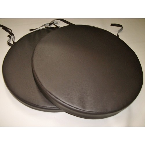 2 Brown Faux Leather Bistro Round Dining Garden Chair Stool Cushion Seat Pads 17u0026quot;***