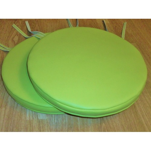 2 Apple Green Faux Leather Bistro Round Dining Garden Chair Stool Cushion Sea