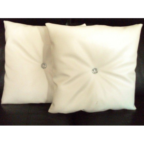 2 Faux Leather Filled Cushions In Cream With Faux Crystal