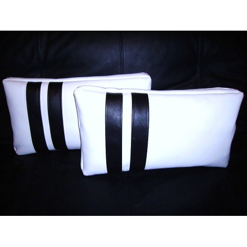 2 Faux Leather Cushions - Pillows in White with 2 Black Stripes Design  21