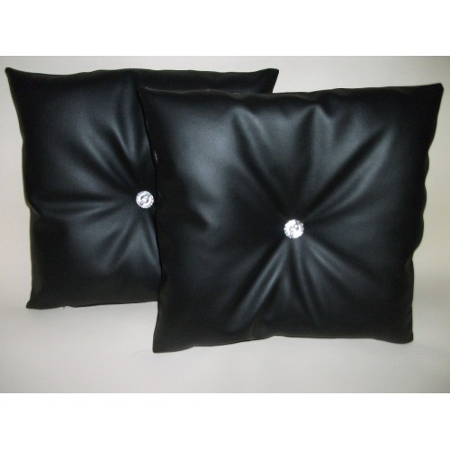 2 Faux Leather Filled Cushions In Black With Faux Crystal