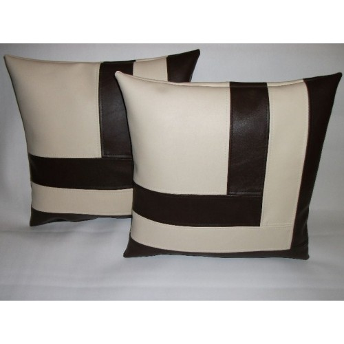 Cushion Covers 2 X Faux Leather Cushion Covers In Brown